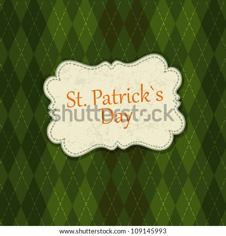 Saint Patrick's Day Card Design Template. Raster version, vector file available in portfolio