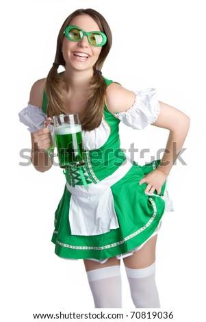 Saint Patricks Day beer girl