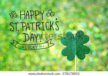 Saint Patricks Day shiny green clover ornament