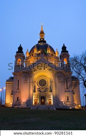 Saint Paul Cathedral atop Summit Hill illuminated at night in Saint Paul Minnesota