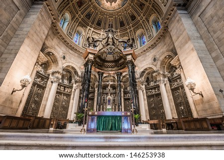 SAINT PAUL, MINNESOTA - JULY 16: Interior of Cathedral of Saint Paul, July 16, 2013. Largest Cathedral in Minnesota, construction began in 1906 and was opened to public in 1915.