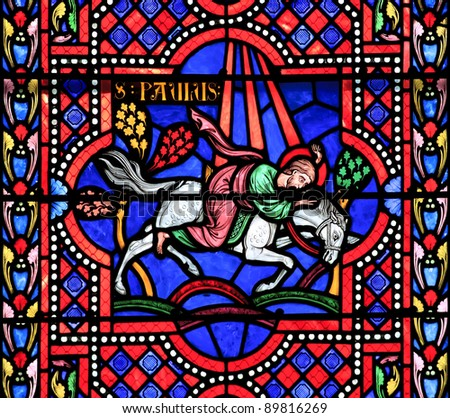 Saint Paul the Apostle. Stained glass window in the Bayonne cathedral, France