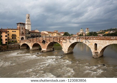 Saint Peter bridge and Adige river in Verona, Italy