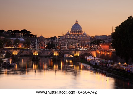 Saint Peter cathedral, vatican, rome, italy, at dusk with beautiful evening light, reflected in the river tiber