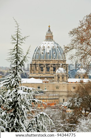 saint  peter cathedral white under the snow in city rome