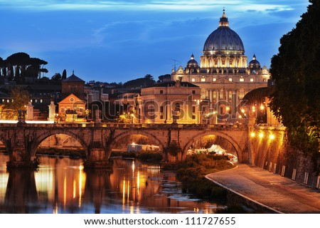 Saint Peter's basilica at night, Vatican City