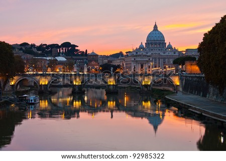 Saint Peter's Basilica at sunset.