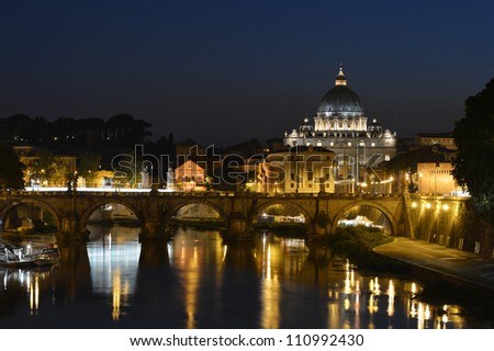 Saint Peter's basilica by night, Rome