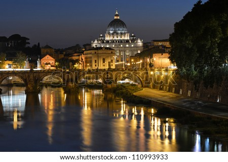 Saint Peter's basilica night view, Rome