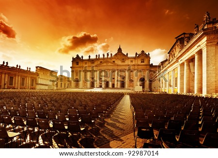 Saint Peter's Square in Vatican and seats - stock photo