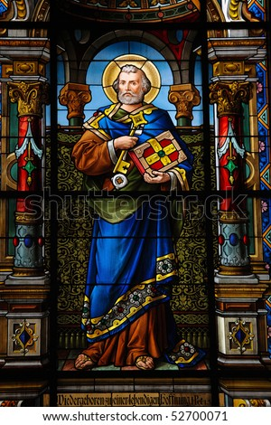 Saint Peter. Stained glass window created by F. Zettler (1878-1911) at the German Church (St. Gertrude's church) in Gamla Stan, Stockholm.
