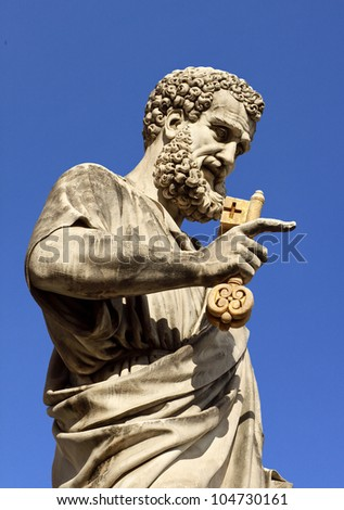 Saint Peter statue in homonymous square, Vatican city, Rome