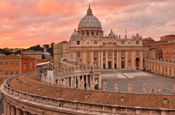 Saint Peters Square and cathedral during sunset, Rome
