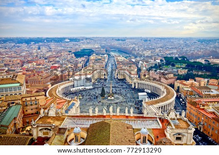Saint Peters Square in the Vatican and an aerial view of the rooftops of Rome, Italy in a travel and tourism concept #772913290