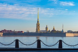 Saint Petersburg a summer day. Buildings in Russia.Peter and Paul Fortress on banks of Neva. Old fortress in Saint Petersburg. Drive to Saint Petersburg. Panorama of Russian city. Vacation in Russia