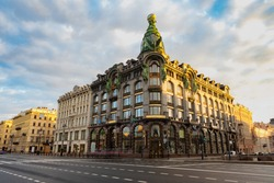 Saint Petersburg Architecture. Russia. Streets of St. Petersburg. Empty car road. Roads in Russia. St. Petersburg on a sunny day. The architecture of Russia cities. Nevsky Prospect on a summer day