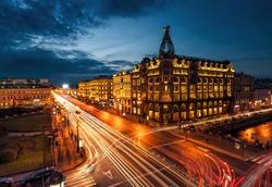 Saint petersburg at night illumination with blured traffic on road, View on Nevsky Prospekt in St. Petersburg night city