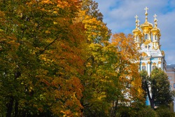 Saint Petersburg autumn. Tsarskoe Selo in Russia. Domes of Catherine Church. Sights of Saint Petersburg. Russian autumn. Landscape of Tsarskoe Selo. Temple in city of Pushkin. Cities of Russia.
