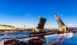 Saint Petersburg bridge at night