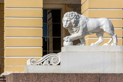 Saint Petersburg, cast-iron statue of a lion with the inscription Product C.St. Petersburg KL Plant in 1824 at the entrance to the Russian Museum