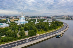 Saint Petersburg. Cathedrals of Russia. Smolny Cathedral. Panorama of St. Petersburg. Neva River. Highway in St. Petersburg. Smolny Cathedral aerial view. Tours of the temples of Russia. Russia road