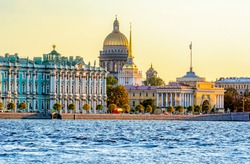 Saint Petersburg cityscape with St. Isaac's Cathedral, Hermitage museum and Admiralty, Russia
