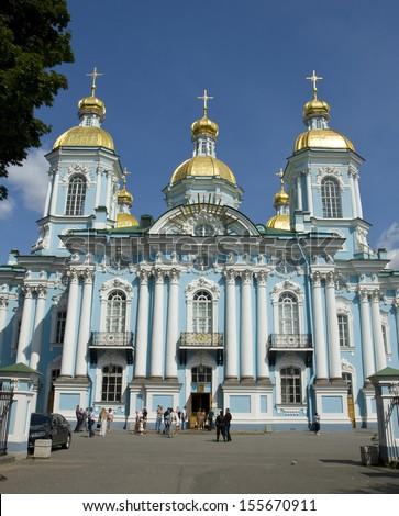 SAINT PETERSBURG - JULY 13: orthodox Saint Nicholas cathedral July 13, 2013 in Saint Petersburg, Russia.