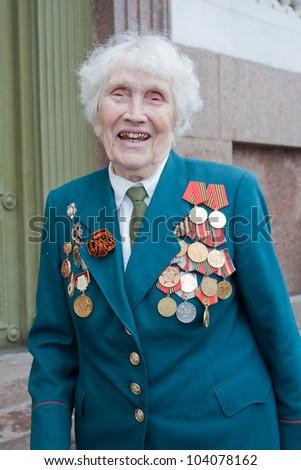 SAINT-PETERSBURG MAY 9: Veterans Day in Russia. World War II Victory Day. Portrait of a hero. May 9 2010.St-Petersburg