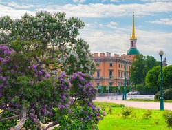 Saint Petersburg Museum. Russia on summer day. Mikhailovsky Castle in Saint Petersburg. Russian city in sunny weather. Imperial Palace Russia. City landscape of Saint Petersburg. Holidays in Russia