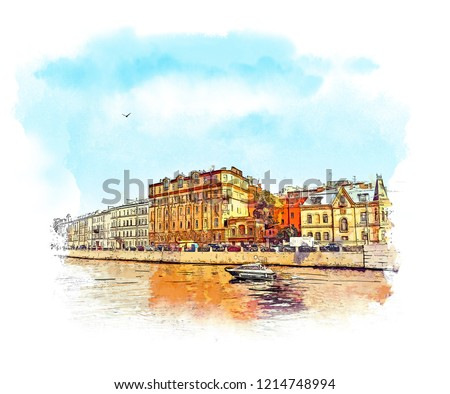 Saint-Petersburg. New Holland Island. Panorama Of St. Petersburg. historic architecture. Russia. Watercolor sketch.