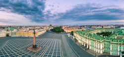 Saint Petersburg. Palace Square. Petersburg from the heights. Panorama of St. Petersburg. Cities of Russia. Panorama of the Palace Square. Hermitage. Streets and squares of St. Petersburg. Russia.