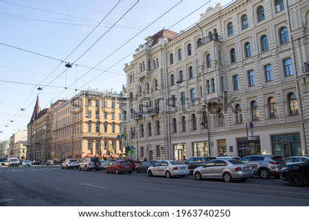 Saint Petersburg, Russia - April 17, 2021: Beautiful view of the old houses and streets of the northern capital of Saint Petersburg. Beautiful architecture of the old town.