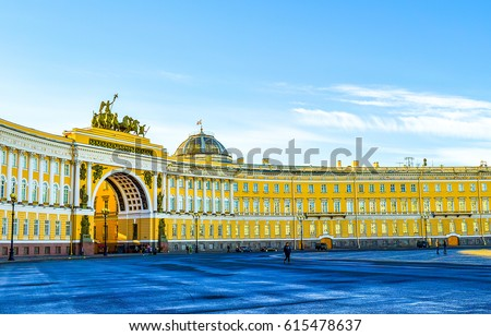 SAINT-PETERSBURG, RUSSIA - Arch of General Staff on Palace Square in Saint Petersburg, Russia travel cities architecture landscape #615478637