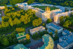 Saint Petersburg. Russia. Catherine?s Palace in royal village. Sights of city of Pushkin. Tsarskoye Selo view from above. Summer St. Petersburg. Traveling to cities of Russia. Tsarskoye Selo top view