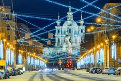 Saint-Petersburg. Russia. Decorated Petersburg streets in the New year. Christmassy days. Smolny cathedral. Christmas city decoration. New year in St. Petersburg. Winter Petersburg. Russian cities.