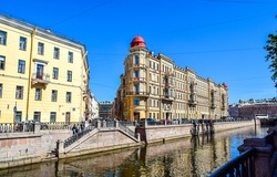 SAINT-PETERSBURG, RUSSIA - Griboyedov canal embankment in Saint Petersburg, Russia