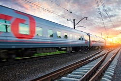 SAINT-PETERSBURG, RUSSIA, June 13, 2014; Passenger train rail transport
