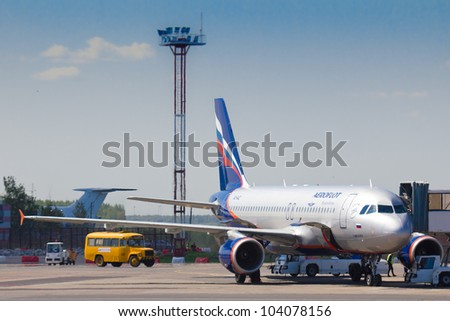 SAINT-PETERSBURG, RUSSIA-MAY 25:Airbus A320 of Aeroflot company in International Pulkovo airport, MAY 25, 2012. Aeroflot carries out own flights to 110 points of 48 countries of the world.