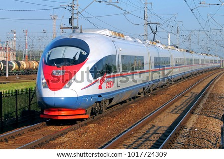 SAINT-PETERSBURG, RUSSIA - May 25, 2014; High-speed train Sapsan on it's way from Moscow #1017724309
