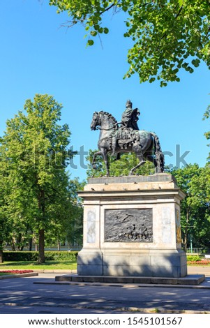 Saint-Petersburg, Russia. Monument to Peter the Great on Peter the Great Square. Great-grandfather from Great-Grandson 1800