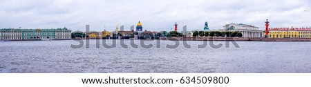 SAINT-PETERSBURG, RUSSIA - Neva river embankment panoramic landscape in Saint Petersburg, Russia