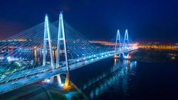 Saint Petersburg. Russia. Night panorama to the cable-stayed bridge in St. Petersburg. Obukhov Bridge.