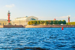 Saint Petersburg, Russia, panorama of Vasilievsky island spit - rostral columns, Stock exchange building and Custom house
