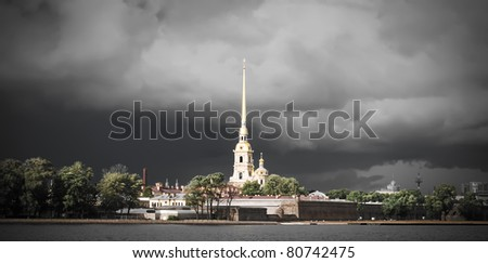 Saint Petersburg, Russia. Peter and Paul Fortress against dramatic clouds after thunderstorm