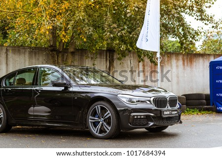 Saint-Petersburg, Russia - September 16, 2017: Cars BMW 7-series for rally car lovers German Bavarian manufacturer BMW. Event BMW Meetup. Autumn meeting car lovers of speed and drive