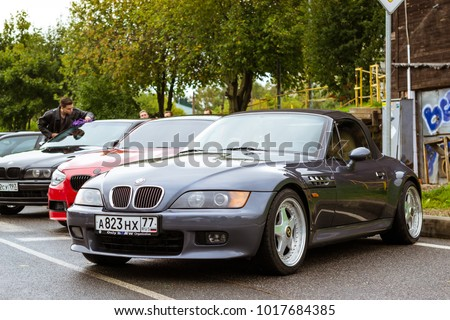 Saint-Petersburg, Russia - September 16, 2017: Cars BMW Z-series for rally car lovers German Bavarian manufacturer BMW. Event BMW Meetup. Autumn meeting car lovers of speed and drive