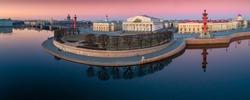 Saint Petersburg. Russia. Spit of Vasilyevsky Island. Rostral columns. Exchange building. Sights of St. Petersburg. Bus excursions. A trip to Vasilyevsky Island. Russia europe. Russia day. Travels