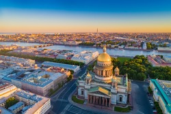 Saint Petersburg. Russia. St. Isaac's Cathedral aerial view. St. Isaac's Cathedral on the background of sunrise. Bus tours of Saint Petersburg. Traveling to the cities of Russia. Russian Federation.