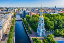 Saint Petersburg. Russia. St. Nicholas naval Cathedral in St. Petersburg. Bell tower of St. Nicholas Cathedral. Churches of Russia. Bell tower on the Bank of the Kryukov canal.