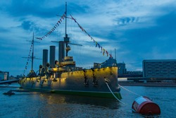 Saint Petersburg. Russia. The Aurora cruiser is moored on the Neva river. Symbol of the October revolution. Unusual museums in Russia. Sights Of St. Petersburg. Travel to Russia.